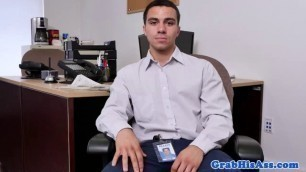 Two hot gay studs fucking office ass