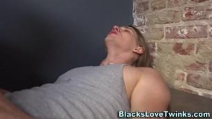 Gay twink riding big black dick