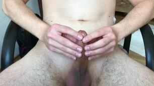 Fingertip frenulum edging cumshot