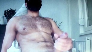 Hairy hung straight muscle daddy edging his big dick